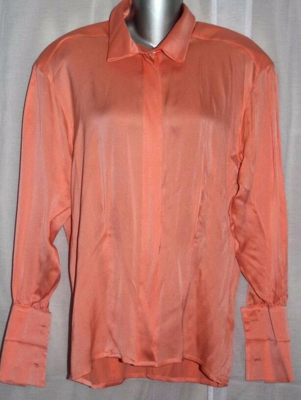 ESCADA Bergdorf Goodman Orange 100% Silk Fr Cuff Blouse Shirt 34   4-8