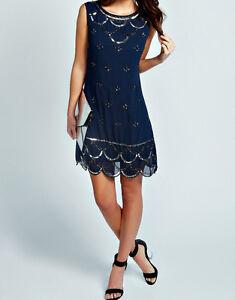 BNWT-Gatsby-BLUE-Dress-Tunic-Top-Evening-1920s-Shift-Dress-Size-8-10-12-14