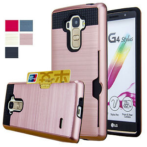 Shockproof-Armor-Hybrid-Hard-Case-Cover-with-Card-Holders-amp-Film-For-LG-Phone