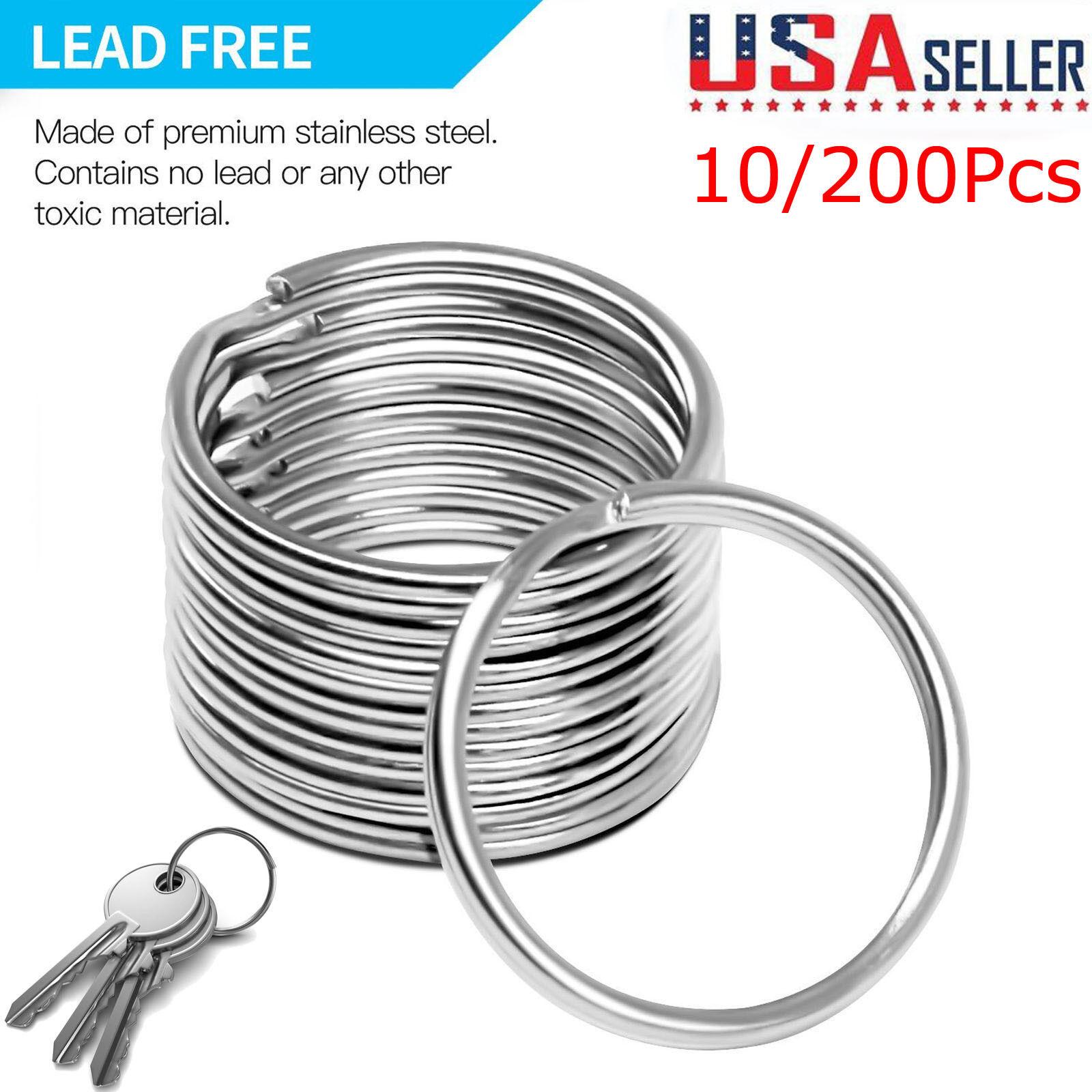 200pcs Silver Keyring Stainless Steel Metal Car Key Holder S