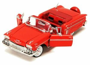 Chevrolet-Impala-1958-Red-Classic-Model-Car-Motormax-1-24