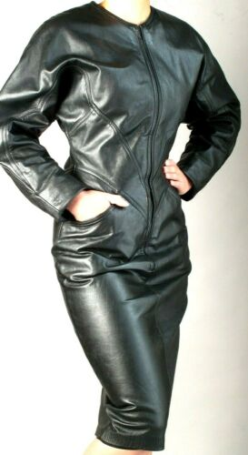 BLACK  LEATHER SHEATH  DRESS with ZIPPER FRONT  … - image 1