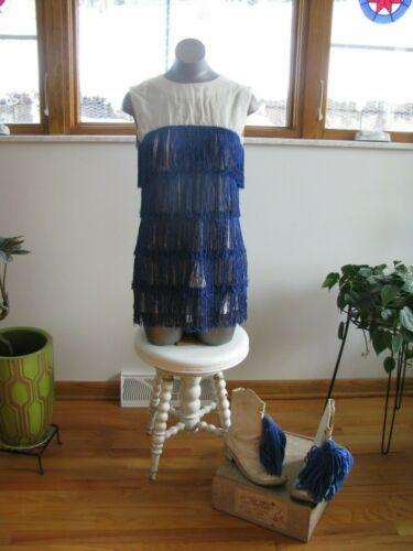 1960s Go Go Blue Fringe Majorette Dress & Boots 6