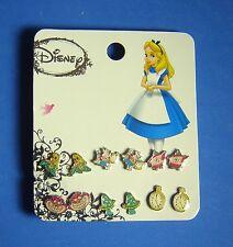 Disney Alice in Wonderland 6 Pair Earring Set Alice Cheshire White Rabbit