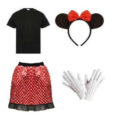 Womens Minnie Mouse Fancy Dress T Shirt Skirt Spotty Gloves Bow Ears Set Red