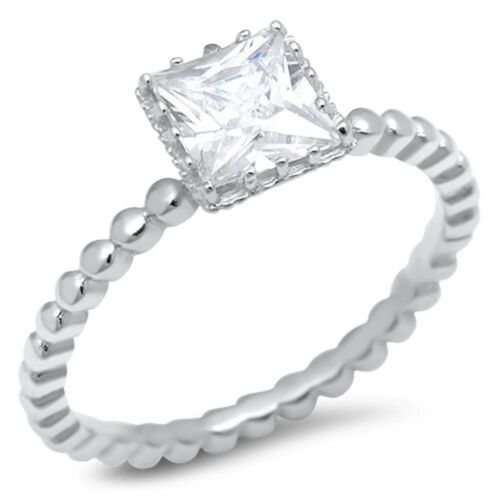 Princess Shape Cubic Zirconia .925 Sterling Silver Ring Sizes 4-10