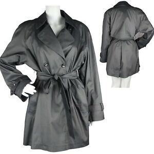 Fleet Street Women's trench coat belted trench gray buttons size 8 (F-4)