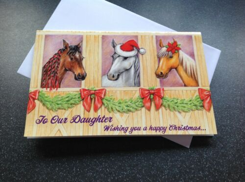 Un joli cheval Carte de Noël fille