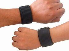 Unisex Black Genuine Leather Cuff Adjustable Bracelet Biker Wristband One Piece