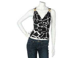 on sale 86cb5 a8ace Details about ROBERTO CAVALLI Black and White Giraffe Print Top, Size 38 6