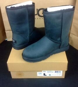 852a5f3f4be3 Image is loading Ugg-Australia-Classic-Short-Black-Water-Resistant-Leather-