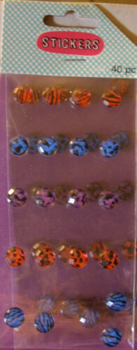 Gemstone 3D Stickers NEW 40 pc  PRINTED FACETED GEMS BLING Your Choice Color