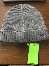 New Authentic Hugo Boss Black Label Men Unisex Grey Beanie Hat Metal Logo $155