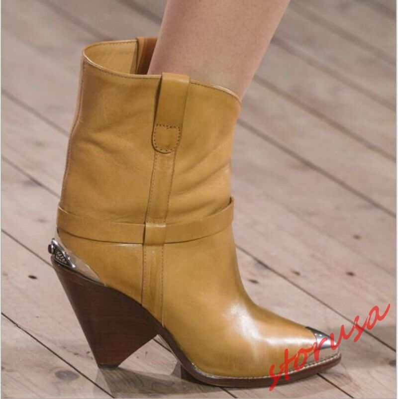 Womens Pointy Toe Wedge Heels Pull On shoes Runway Ankle Boots Leather Pump size