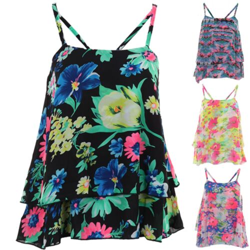 Women/'s Layered Strappy Frill Chiffon Crop Floral Print Ladies Cami Vest Top