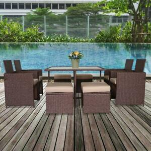 9PCS Patio Rattan Wicker Sofa Set Cushioned Furniture Indoor/Outdoor Chair Table