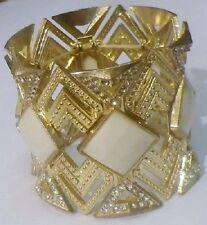 Large bracelet manchette vintage extensible couleur or cabochon cristaux C3