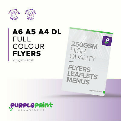 500 Full Colour Printed Flyers Leaflets 250gsm Gloss A5