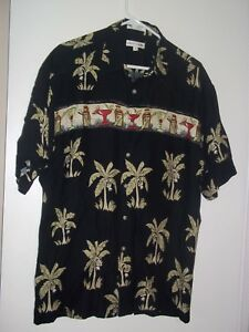 Pierre-Cardin-Mens-Black-Cocktail-Print-Rayon-Aloha-Hawaiian-Camp-Shirt-M-EUC