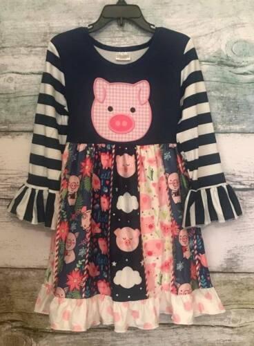Navy Stripe Pink Pig Print Dress  2 3 4 Years
