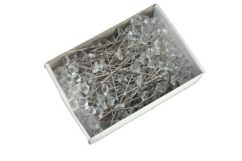 "144 Clear 3//4/"" ACRYLIC DIAMOND SHAPE Head Corsage Pins Choose Size"