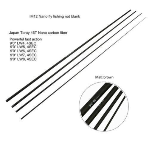 IM12 Nano Fly Fishing Rod Blanks 4SEC 9FT 4//5//6//7//8//9wt Fast Action