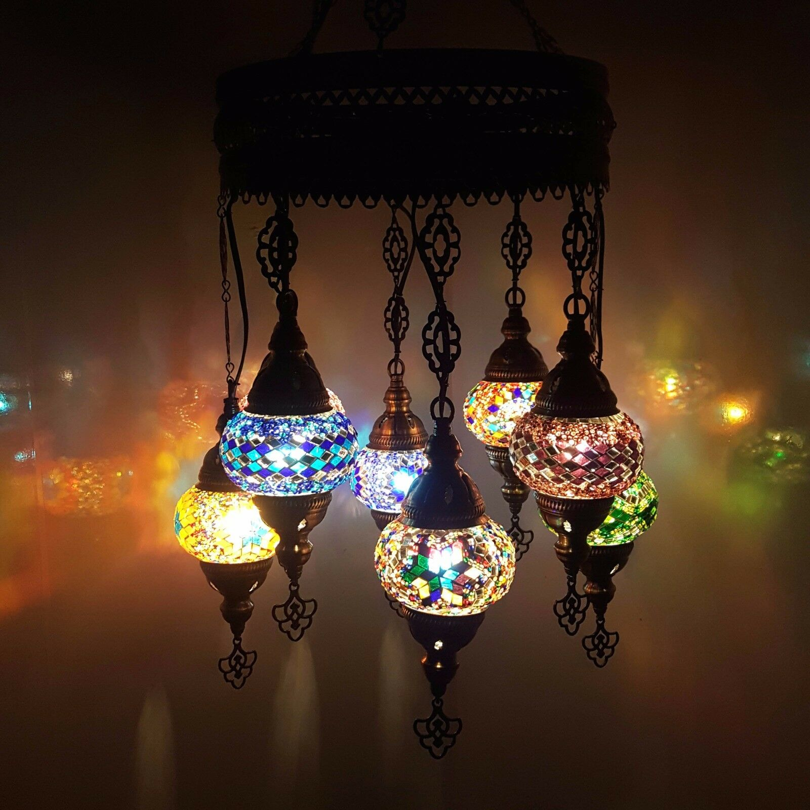 Turkish Moroccan Arabian Glass Mosaic Chandelier Lamp Light 8 Bulb