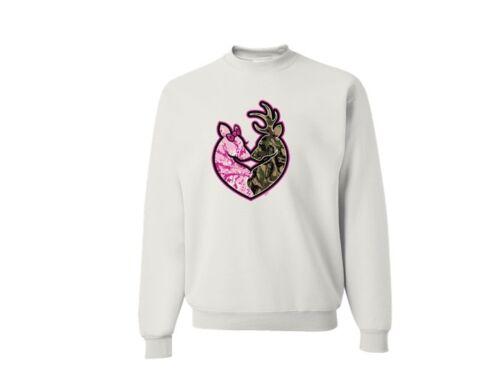 Buck Camo /& Pink Doe Heart Deer Hunting Crew Neck Sweatshirt SM To 4XL THE BEST