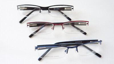 Original Kauf Durchsuchen Sie die neuesten Kollektionen Super günstig Brille Halbrand schmale Form rechteckig rot schwarz blau Metall unten  randlos M | eBay