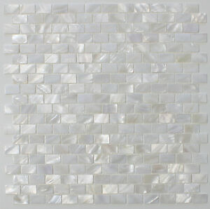 Image Is Loading Mother Of Pearl Oyster White Subway Mosaic Tiles