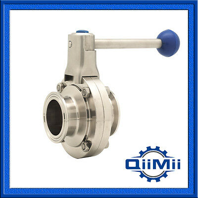 "SUS304 4"" Tri-Clamp Butterfly Valve Sanitary Stainless Steel 304 Pull Handle"