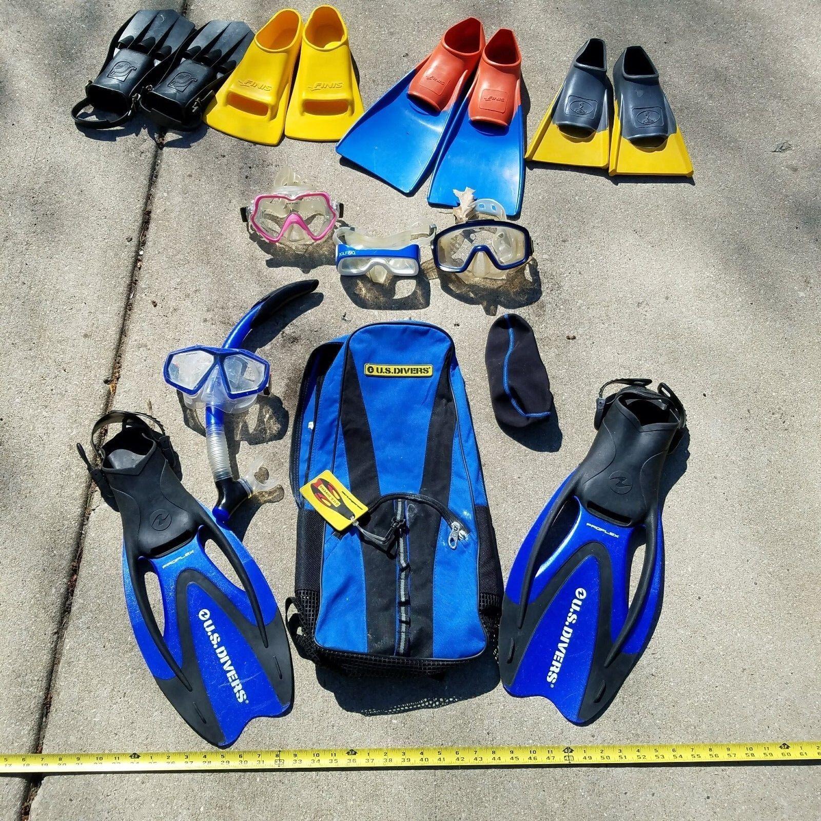 Lot Flippers Snorkel paddles Mask Goggles FINIS TYR KIEFER DOLFINO U.S Divers