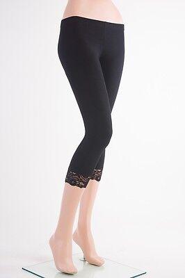 C-L1001 Capri Cotton LACE Trim Leggings Skinny Yoga Thin Pants S~3XL Plus Yoain