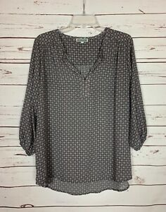 Pleione-Anthropologie-Women-039-s-L-Large-Gray-Pink-Long-Sleeve-Top-Blouse-Shirt