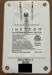 2x Insteon 2635-222 On Off Power Switch Module *** QTY 2 ***