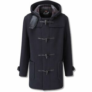 Gloverall Mid Length Leather Loop Fastening Classic Duffle Coat Navy