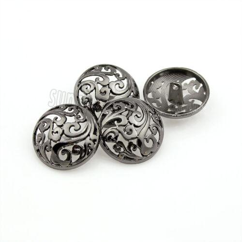 10pcs Hollow Flower Metal Shank Buttons Coat Sewing Craft Embellishment 18 23 25