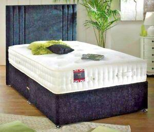 Lavish New 6ft Super King Size Chenille Divan Bed Base Headboard