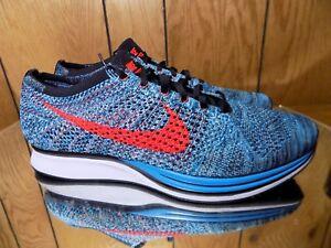 Nike-Flyknit-Racer-Running-Shoes-Turquoise-Crimson-SZ-13-526628-404
