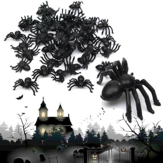 100Pcs Halloween Black Fake Spiders Toys Party Prop Decoration Horrible Loot New