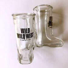 A Pair of Rare 1999 Warner Bros. Wild Wild West Glass Boot Shot Glasses
