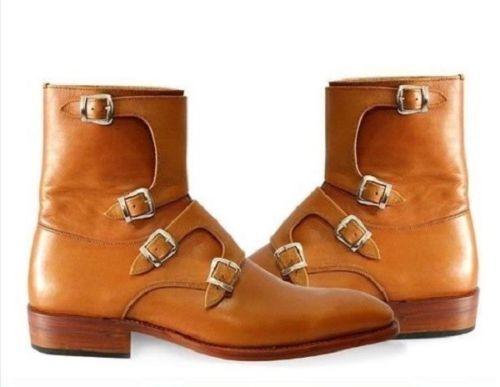 Caviglia Stivali Tetra Pelle Monk Fatto Mano Scarpe A Uomo Marrone Strap Alto qw7xBPv7a