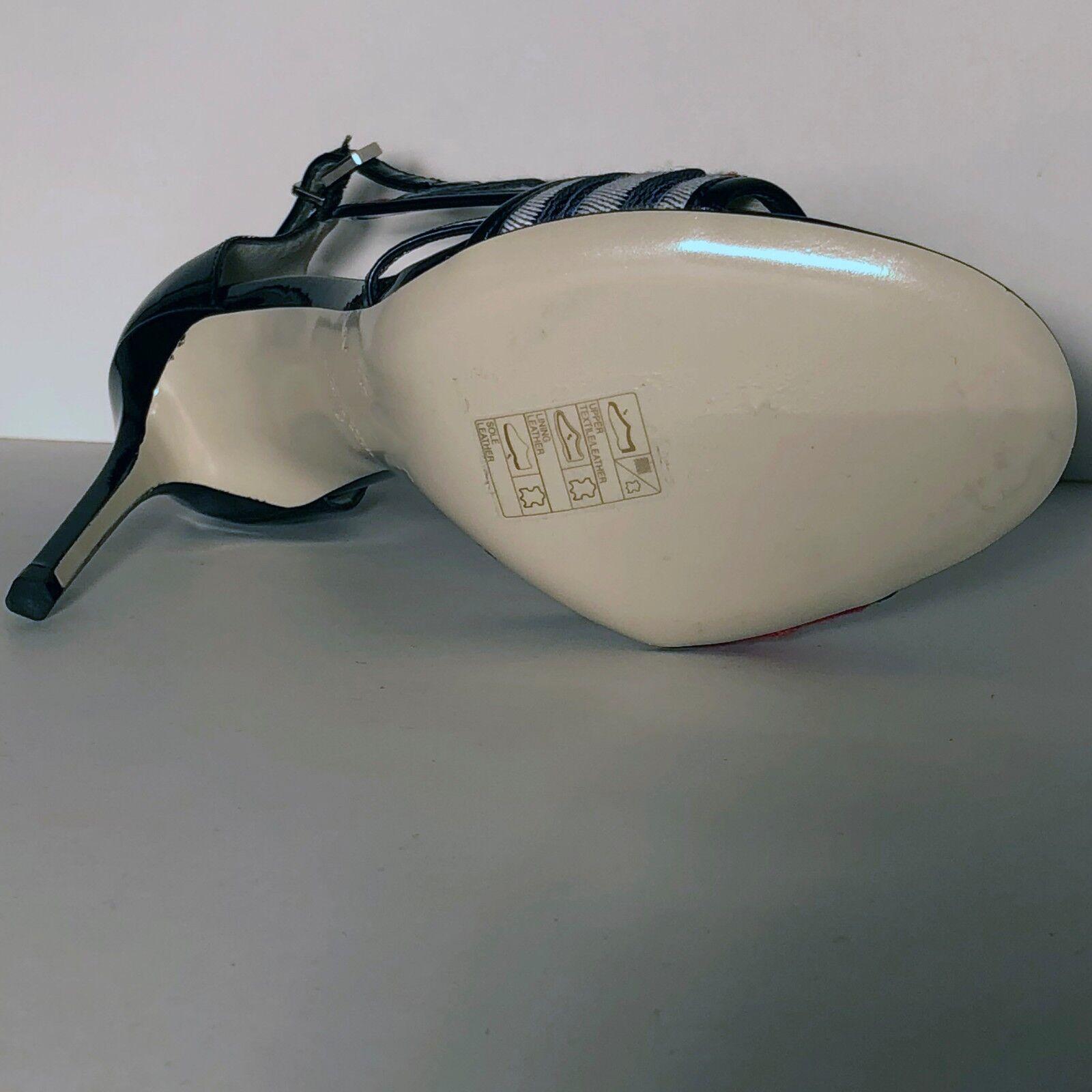 Giorgio Armani Para Mujer Negro Rojo Cuero Cuero Cuero Moda Tobillo T-Strap bombas Tacones 99bd79