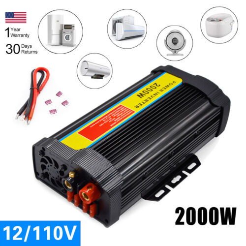 DC5V//2.1A USB Output Car Power Inverter 12V DC To AC 110V Peak 1200-12000W UDD