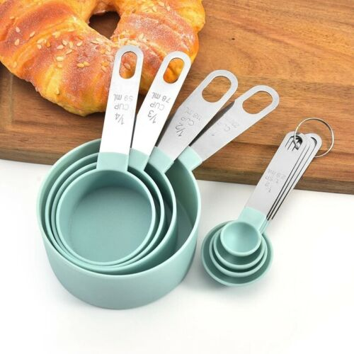 4Pcs Measuring Cups Spoons Baking Cooking Kitchen Tools Set Stainless Steel PP
