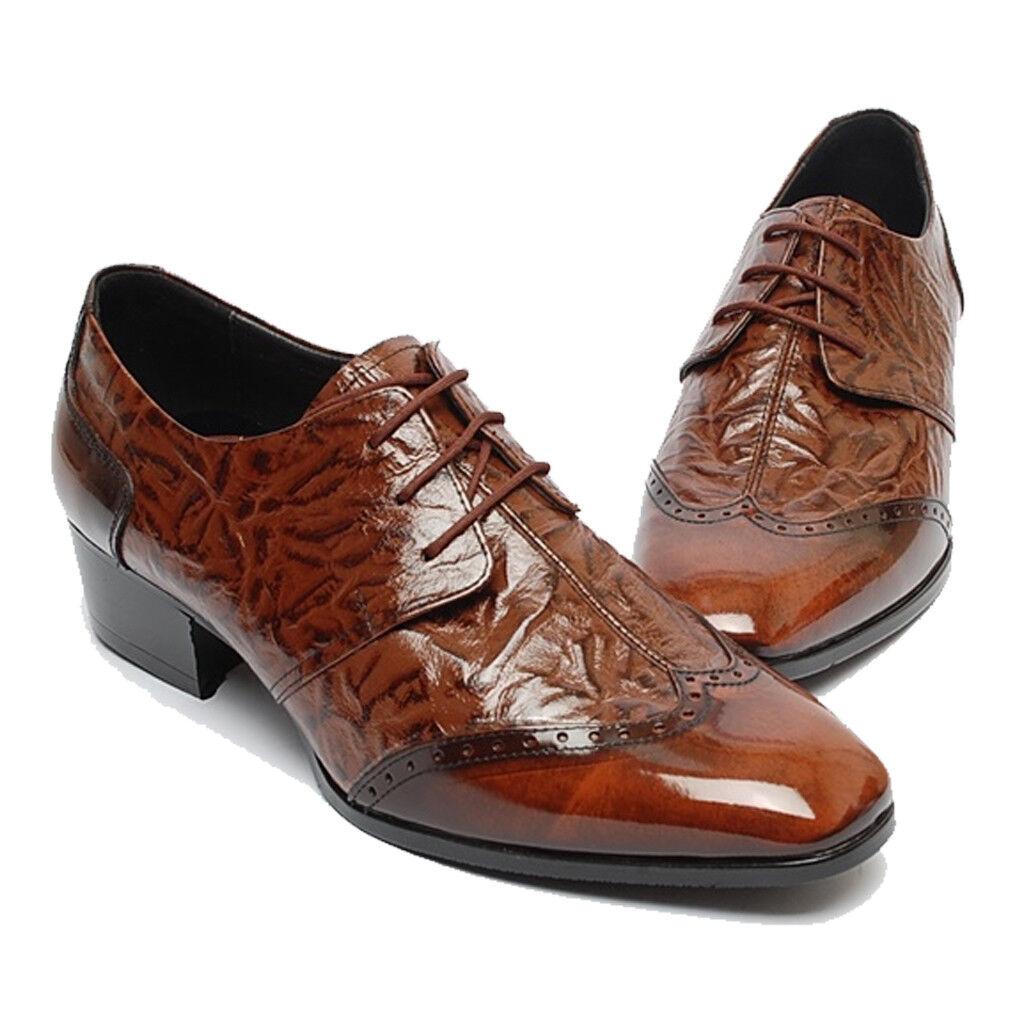 Epicsnob para hombres Cuero Genuino Vestido Formal Mocasines Zapatos Oxford punta del ala con cordones