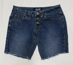 Angels-Jean-Shorts-Womens-Cut-Off-Denim-Low-Rise-Flap-Pocket-Button-Fly-Size-1