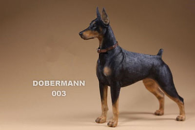Resin DOG Doberman Pinscher Hand Painted simulation model Figurine Statue gray