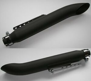 Pair-of-BLACK-TURNOUT-SLASH-CUT-Motorcycle-Exhaust-Mufflers-50cm-long-65-942B-x2