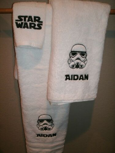 Star Wars Storm Trooper Sketch Personalized 3 Piece Bath Towel Set Any Color